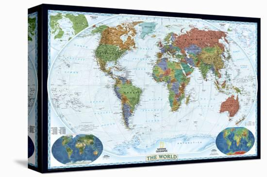 World Political Map, Decorator Style Stretched Canvas Print by National on earth map canvas, old world map canvas, map wall art, ikea world map canvas, united states map canvas,
