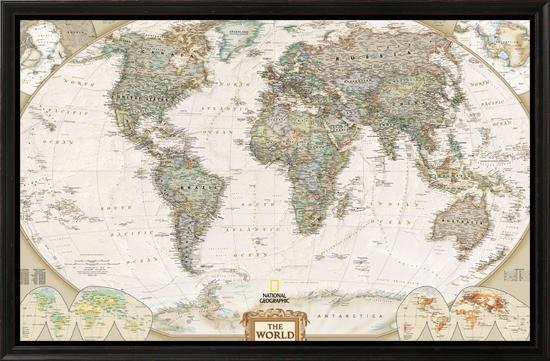World Political Map, Executive Style-National Geographic Maps-Framed Canvas Print