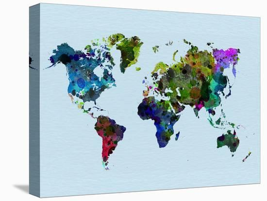 World Watercolor Map 3-NaxArt-Stretched Canvas Print