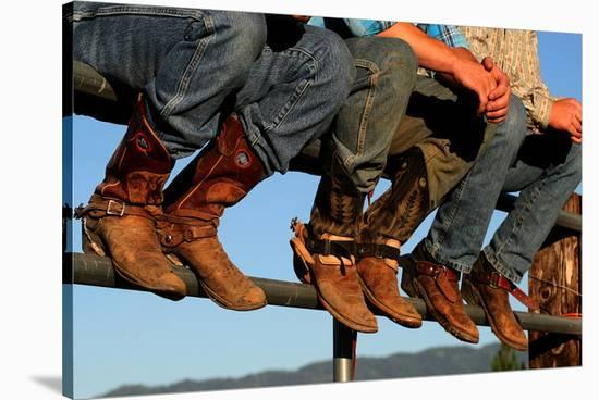 Wranglers boots at Rodeo Idaho--Stretched Canvas Print
