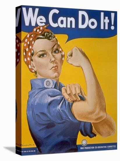"""WWII Patriotic """"We Can Do It"""" Poster by J. Howard Miller Featuring Woman Factory Workers--Stretched Canvas Print"""