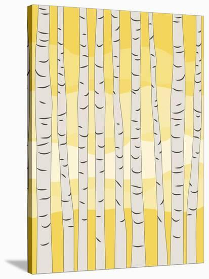 Yellow Birch Trees-Jetty Printables-Stretched Canvas Print
