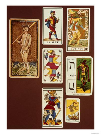 0 the Fool, Seven Tarot Cards from Different Packs--Giclee Print
