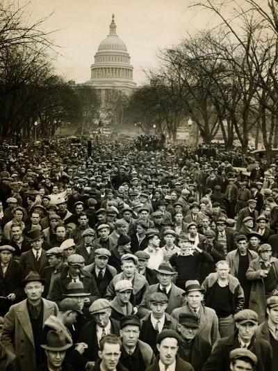 10,000 Unemployed Hunger Marchers to the Jammed the Streets Near the Capitol on Jan 7, 1932--Photo