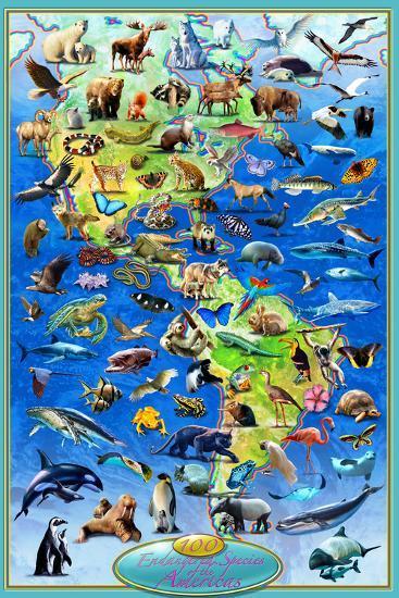 100 Endangered Species-Adrian Chesterman-Art Print