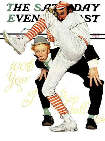 """""""100th Anniversary of Baseball"""" Saturday Evening Post Cover, July 8,1939-Norman Rockwell-Giclee Print"""