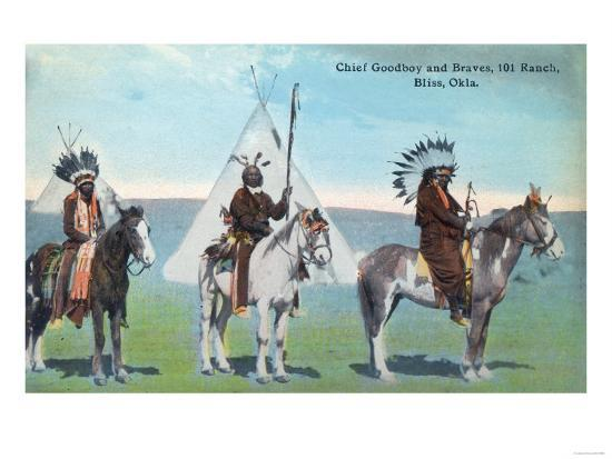 101 Ranch View of Chief Goodboy and Braves - Bliss, OK-Lantern Press-Art Print