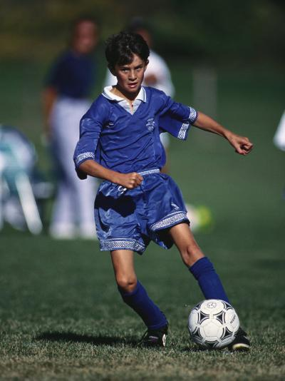 11 Year Old Boys Soccer Action--Photographic Print