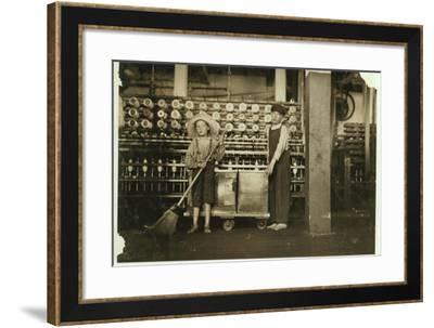 12 Year Old Doffer Ronald Webb and 7 Year Old Frank Robinson-Lewis Wickes Hine-Framed Photographic Print