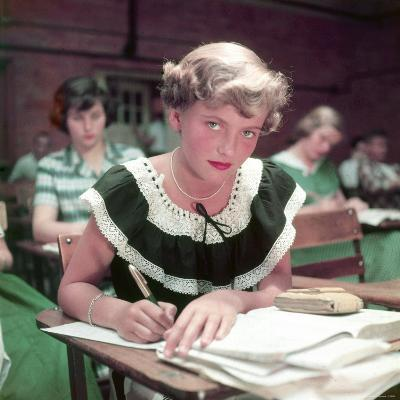 15 Year Old High School Student Rue Lawrence in Class at New Trier High School Outside Chicago-Alfred Eisenstaedt-Photographic Print