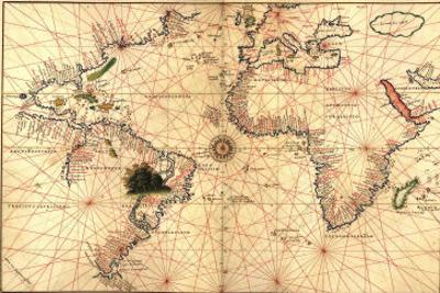 1544 Nautical Map of the Atlantic Ocean