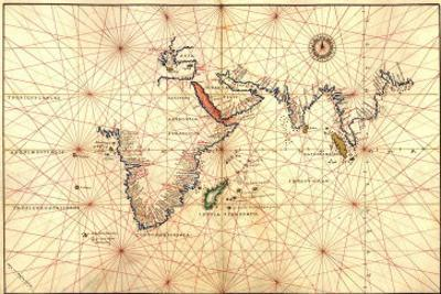 1544 Nautical Map of the Indian Ocean with Terra Incognito or Unknown Land