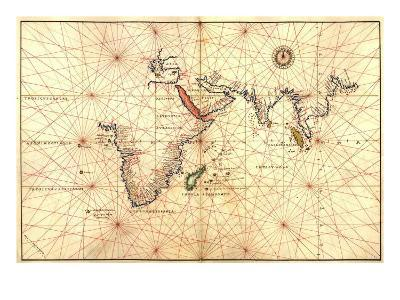 1544 Nautical Map of the Indian Ocean with Terra Incognito or Unknown Land--Photo