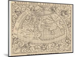 1545 Map from Basel Switzerland Depicting the World as Known to Ptolemy in the 2nd Century