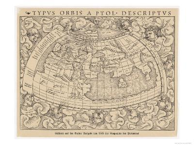 1545 Map from Basel Switzerland Depicting the World as Known to Ptolemy in the 2nd Century--Giclee Print