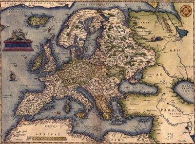 1570 Map of Europe. from Abraham Ortelius' Atlas, Theatrvm Orbis Terrarvm