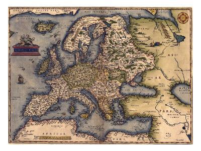 1570 Map of Europe. from Abraham Ortelius' Atlas, Theatrvm Orbis Terrarvm--Photo