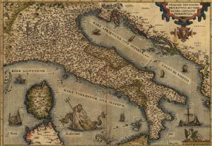 1570 Map of Italy from Abraham Ortelius Atlas, Theatrvm Orbis Terrarvm