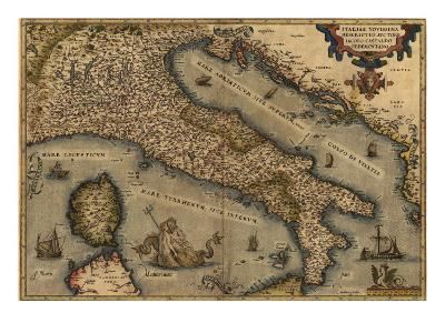 1570 Map of Italy from Abraham Ortelius Atlas, Theatrvm Orbis Terrarvm--Photo