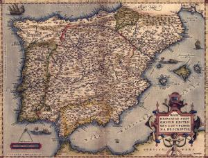 1570 Map of Spain, from Abraham Ortelius' Atlas, Theatrvm Orbis Terrarvm