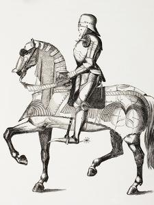 15th Century Knight in Full Armour Mounted on a Horse Clad in Armour, from 'Les Arts Au Moyen…