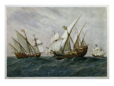 16th Century Caravels-Rafael Monleon Y Torres-Giclee Print
