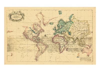 1708, World, Mercator Projection--Giclee Print