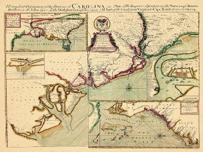 1711, Carolina A complete description of the province of Carolina in 3 parts, South Carolina--Giclee Print