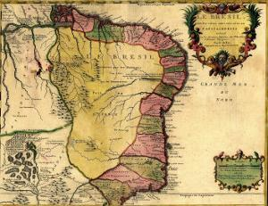 1719 Map of Brazil, Showing Geographic Definition on the Coast