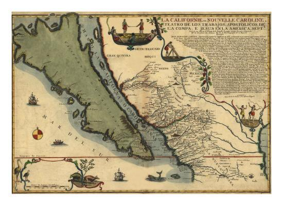 1720 Map of Baja California and Northwest Mexico, Showing ...