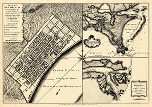 1720, New Orleans Bird's Eye View, Louisiana, United States