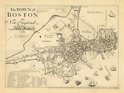 1722, Boston Captain John Bonner Survey Reprinted 1867, Massachusetts, United States