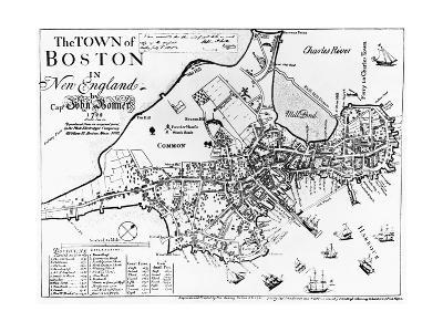 1722 Map of Boston--Giclee Print