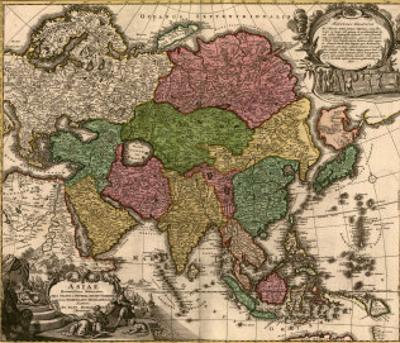 1724 Map of Asia and Islands of the East Indies. Central and Western Asia are Occupied by Tatars