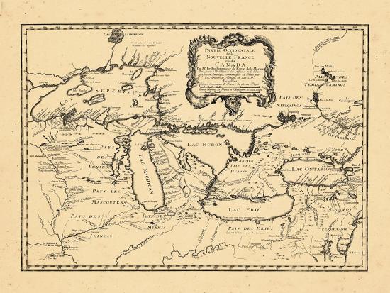 Map Of New York And Ohio.1755 Illinois Indiana Michigan Minnesota New York Ohio Ontario Pennsylvania Wisconsin Giclee Print By Art Com