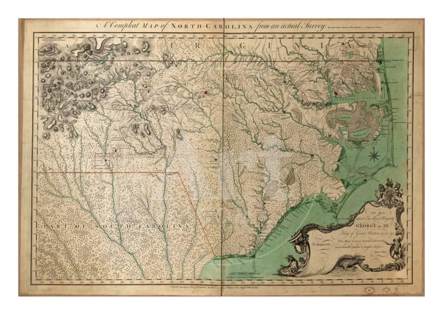 1770, North Carolina State Map with Landowner Names, North Carolina, United  States Giclee Print by   Art.com