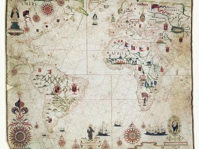 17th Century Nautical Map of the Atlantic-Library of Congress-Photographic Print
