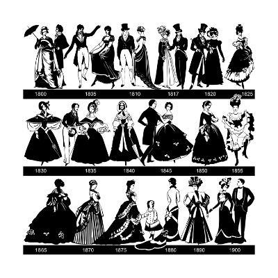 1800-1900 Fashion Silhouettes-Cicero96-Art Print