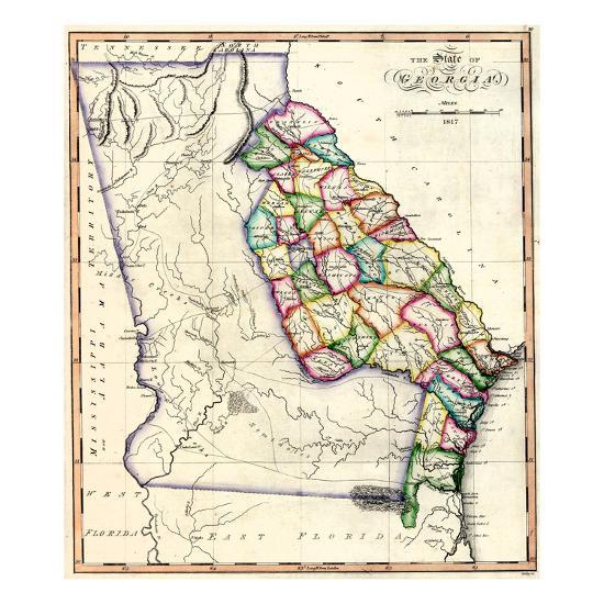 Map Of Georgia United States.1817 Georgia State Map Georgia United States Giclee Print By Art Com