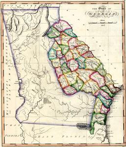 1817, Georgia State Map, Georgia, United States