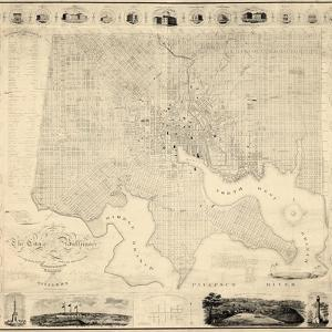 1822, Baltimore Wall Map, Maryland, United States