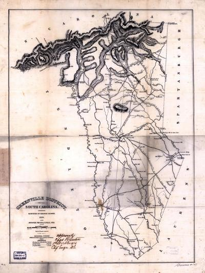 1825, Greenville District surveyed 1820, South Carolina, United States--Giclee Print