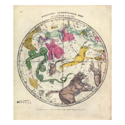 1835, Circumpolar Map Northern, Constellations--Giclee Print