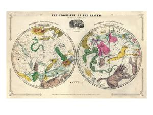 1835, Geography of the Heavens, Northern - Southern