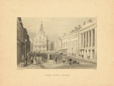 1840, Boston View of State Street, Massachusetts, United States--Giclee Print