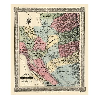 1851, California Mining Districts Map, California, United States--Giclee Print
