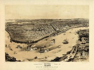 1851, New Orleans Bird's Eye View, Louisiana, United States