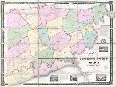 1852, Jefferson County - WV formerly VA Wall Map, West Virginia, United States--Giclee Print