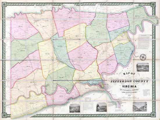 Virginia United States Map.1852 Jefferson County Wv Formerly Va Wall Map West Virginia