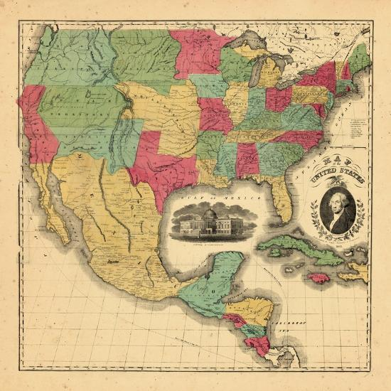 1852, Mexico, United States, Central America Giclee Print by | Art.com